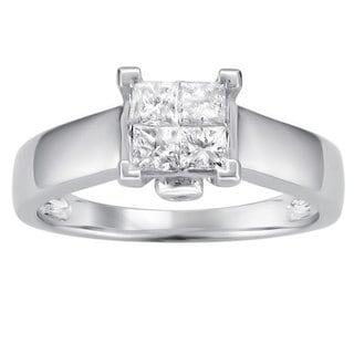 Brides Across America by Montebello 14k White Gold 1/2ct TDW Princess Diamond Composite Ring (I-J, I2)