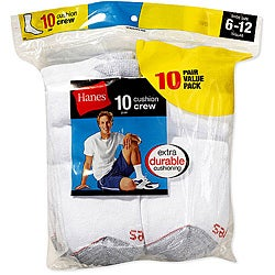 Hanes Men's Cushion Crew Socks (Pack of 10)