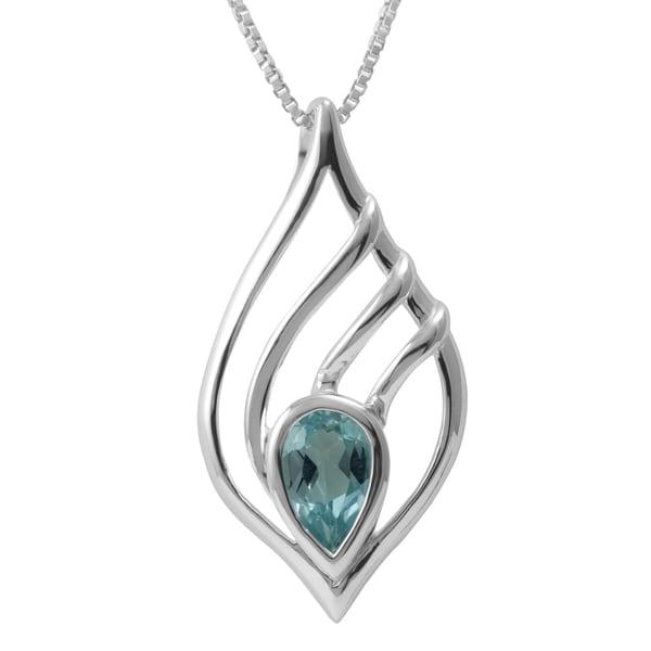 Sterling Silver Teardrop Blue Topaz Necklace (Thailand)