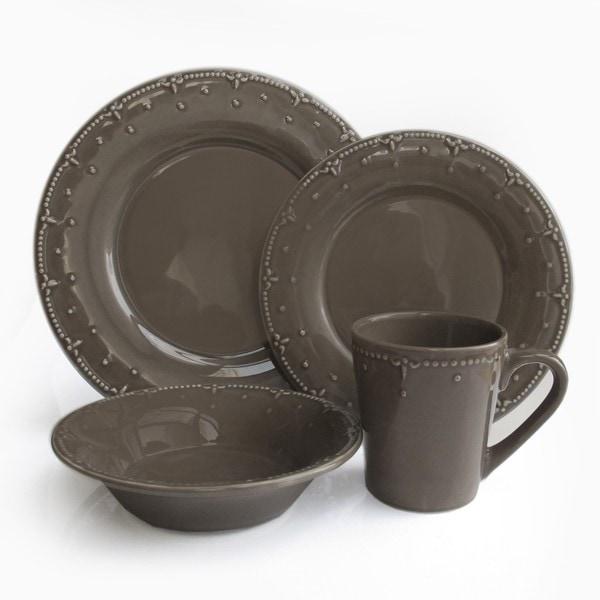 American Atelier Smoked Gray 16-piece Dinnerware Set