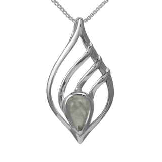 Sterling Silver Teardrop Moonstone Necklace (Thailand)