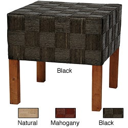 Hand-crafted Woven-fiber Rush Grass/Wood Artisan Foot Stool (China)