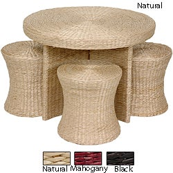 Rush Grass Coffee Table with Four Stools (China)