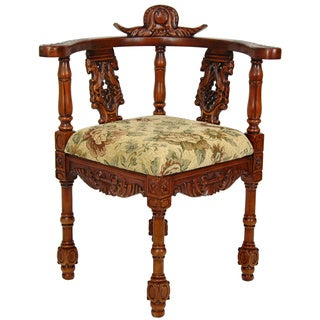Queen Anne Citrine Flowers Corner Chair (China)