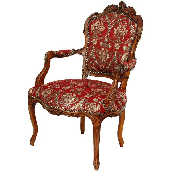 Queen Elizabeth Crimson Fleurs-De-Lis Armchair (China)
