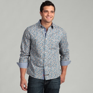 English Laundry Men's Blue Floral Woven Shirt