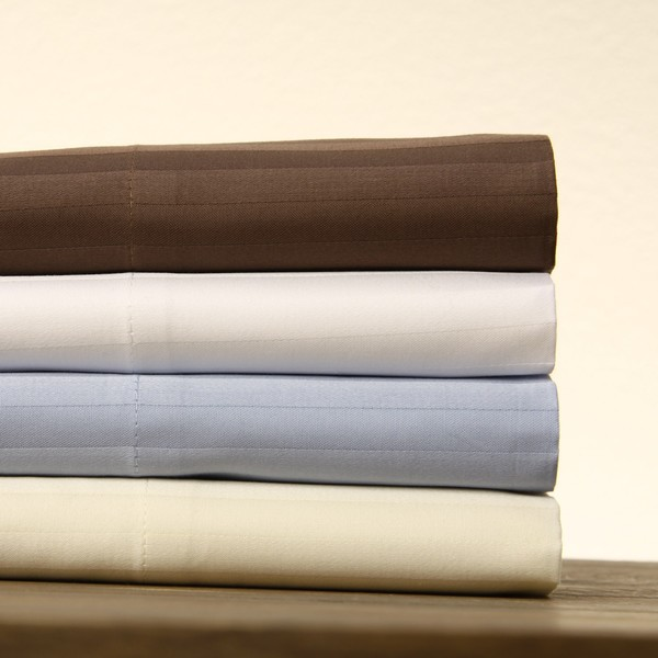 Cotton Sateen Damask Stripe 400 Thread Count Sheet Set