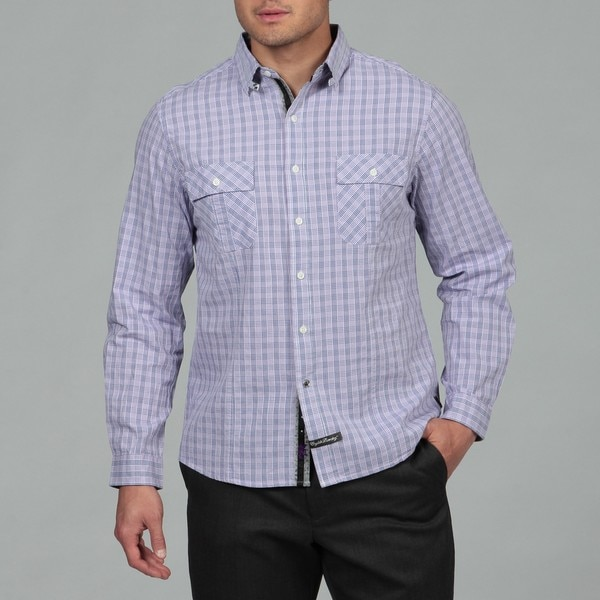 English Laundry Men's Purple Woven Shirt