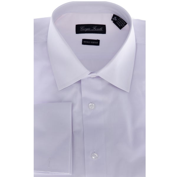 Men s white modern fit dress shirt 14076609 overstock com shopping