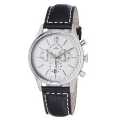 Zeno Men's 'Event' Silver Dial Black Leather Strap Watch