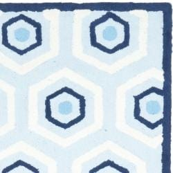 Handmade Children's Hexagon Light Blue N. Z. Wool Rug (2'3 x 9')
