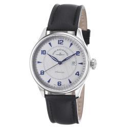 Zeno Men's 'Godat' Silver Dial Black Leather Strap Automatic Watch
