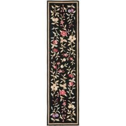Simply Clean Botanical Hand-hooked Black Rug (2' 6 x 8')