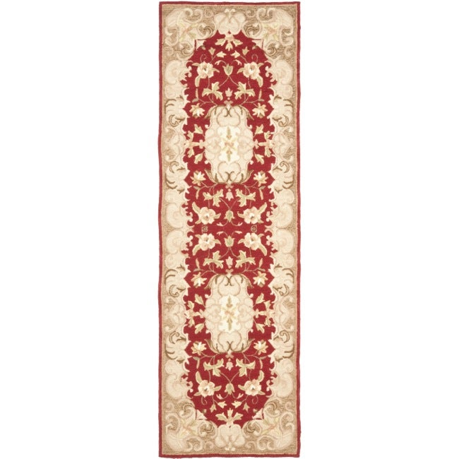 Safavieh Simply Clean Aubusson Hand-hooked Rust/ Sage Rug (2' 6 x 8')