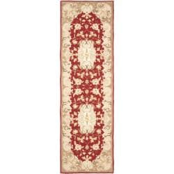 Simply Clean Aubusson Hand-hooked Rust/ Sage Rug (2' 6 x 8')