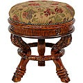 Wood Ochre Flower Round Tuffet Stool (China)