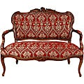 Crimson Fleurs-De-Lis 'Queen Elizabeth' Loveseat (China)