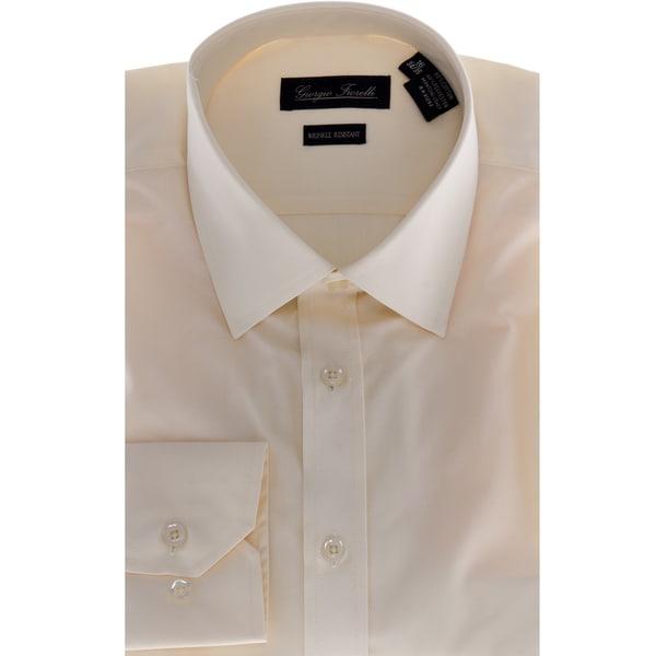 Men 39 s modern fit dress shirt beige overstock shopping for Modern fit dress shirt