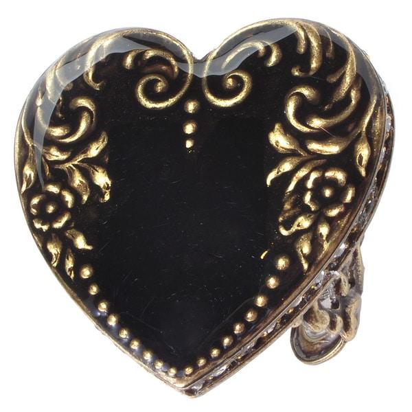 Sweet Romance Crystal and Black Enamel Heart Vintage Ring