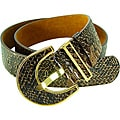 Vecceli Italy Women's Brown Snake-skin Embossed Cowhide Belt