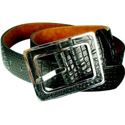 Vecceli Italy Women's Black 1.5-inch Alligator-skin Embossed Cowhide Belt
