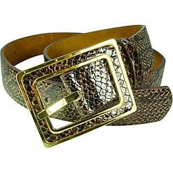Vecceli Italy Women's Brown 1.5-inch Snake-skin Embossed Cowhide Belt