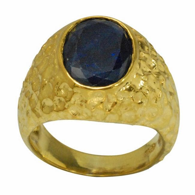De Buman Gold over Sterling Silver Sapphire Ring
