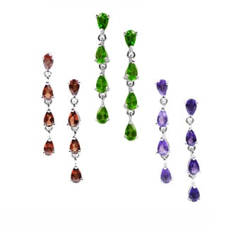 De Buman Sterling Silver Gemstone Dangle Earrings