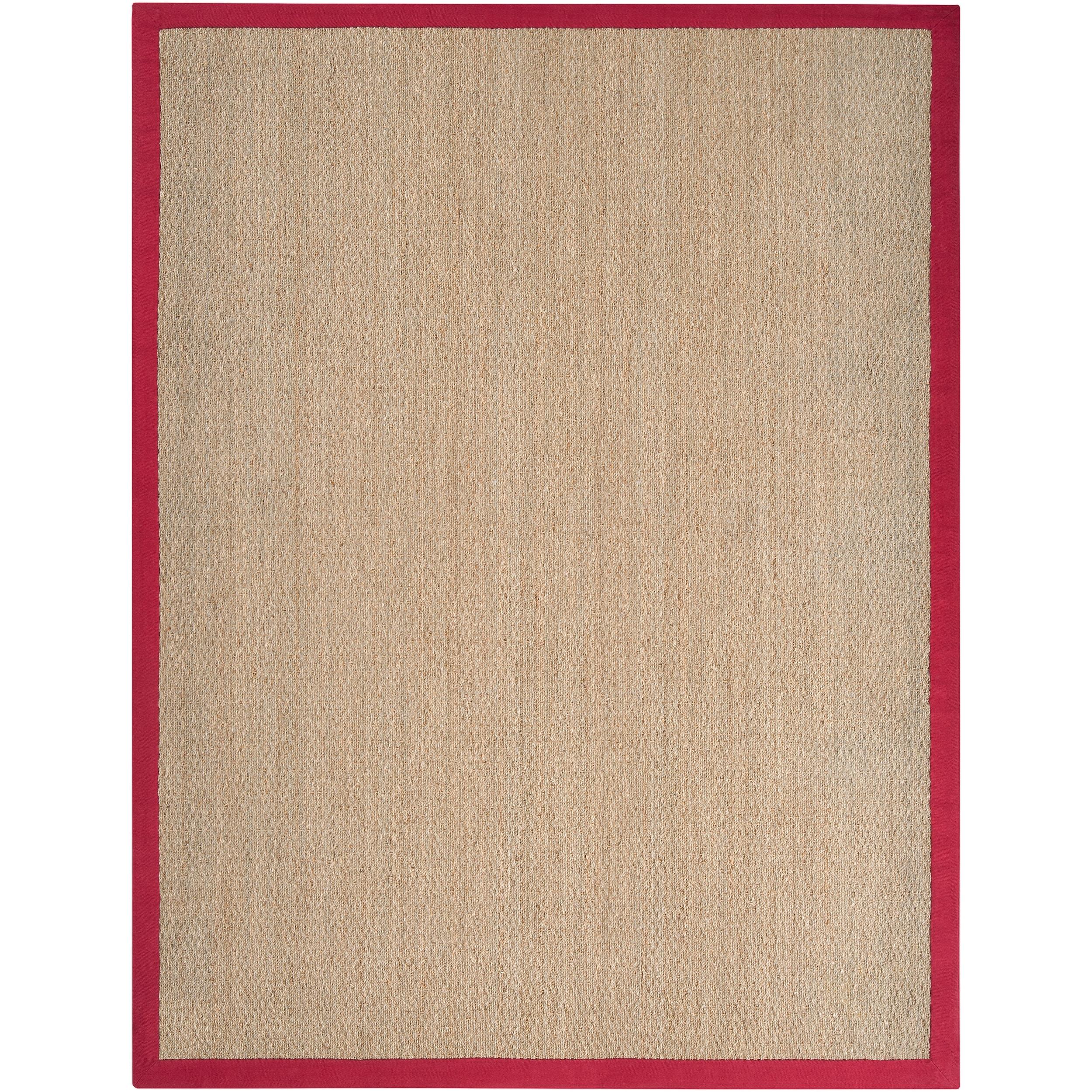 Hand-woven Natural Fiber Seagrass Cotton Border Beige Carnegie Rug (8' x 10')