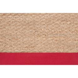 Hand-woven Natural Fiber Seagrass Cotton Border Beige Carnegie Rug (8' x 10')
