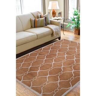 Hand-tufted Geometric Trellis Wool Carmel Expedi Rug (8' x 11')