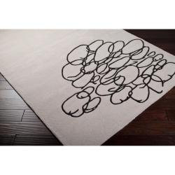Noah Packard Hand-tufted White/Black Contemporary Phillie New Zealand Wool Abstract Rug (5' x 8')