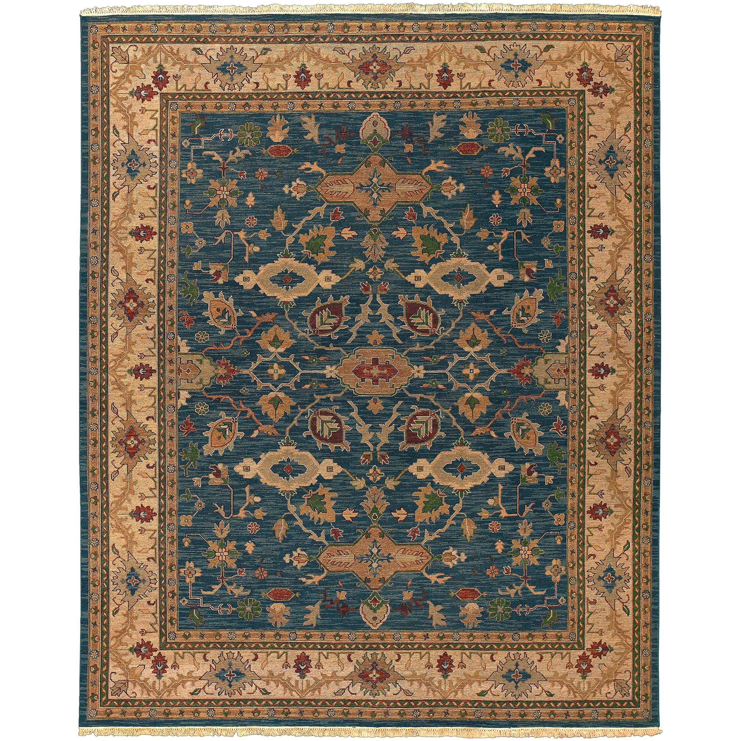 Hand Knotted Semi-Worsted New Zealand Wool Blue Harris Rug