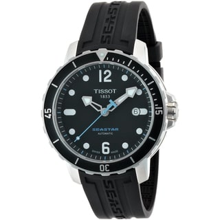 Tissot Men's 'Seastar' Black Dial Black Silicone Strap Watch