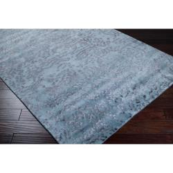 Julie Cohn Hand Knotted Pale Blue Dale Abstract Design Wool Rug (4' x 6')