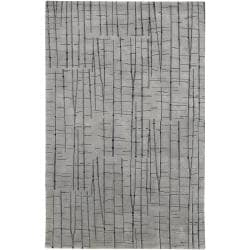 Julie Cohn Hand Knotted Grey Baton Abstract Design Wool Rug (4' x 6')