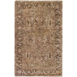 Hand woven Light Brown Holyoke Traditional Border Hemp Rug (5' x 8')