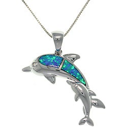 CGC Sterling Silver Created Opal Mother and Baby Dolphin Necklace