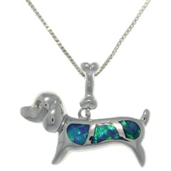 CGC Sterling Silver Created Opal Dog Necklace