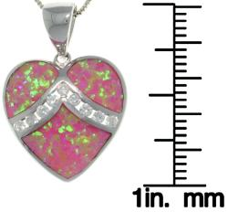 CGC Sterling Silver Created Pink Opal and Cubic Zirconia Heart Necklace