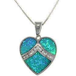 CGC Sterling Silver Created Opal and Cubic Zirconia Heart Necklace