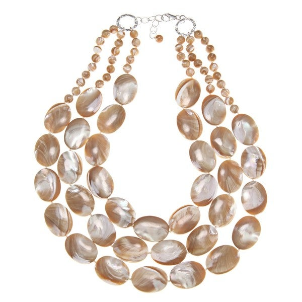 Freshwater Mother of Pearl 3-strand Necklace (6 mm)