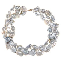 DaVonna Charming 14k Yellow Gold Baroque FW Pearl 3-row Necklace (13-16 mm)