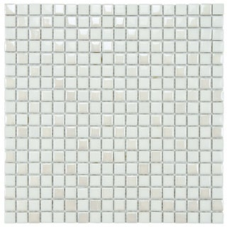 SomerTile 11.75x11.75-inch Posh Pixie White Porcelain Mosaic Tiles (Set of 10)