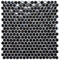 SomerTile 11.25x12-inch Posh Penny Round Black Porcelain Mosaic Tiles (Set of 10)