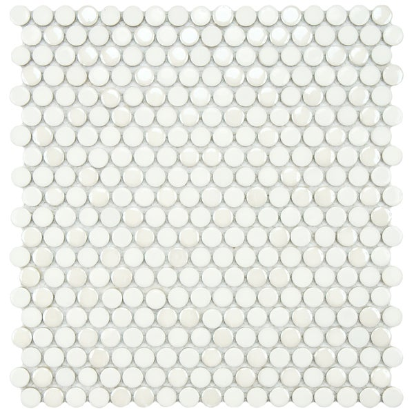 SomerTile 11.25x12-inch Posh Penny Round White Porcelain Mosaic Wall Tile (Pack of 10)