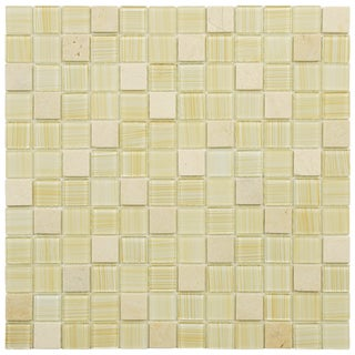 SomerTile 11.5x11.5-inch Chroma Square Macadamia Glass and Stone Mosaic Tiles (Set of 10)