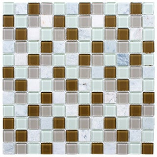 SomerTile 11.5x11.5-inch Chroma Square Manzanilla Glass and Stone Mosaic Tiles (Set of 10)