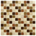 SomerTile 11.5x11.5-inch Chroma Square Kalamata Glass and Stone Mosaic Tiles (Set of 10)
