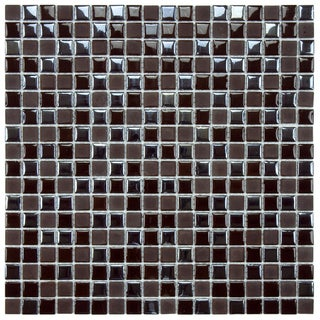 SomerTile 11.75x11.75-inch Posh Pixie Brown Porcelain Mosaic Tile (Set of 10)